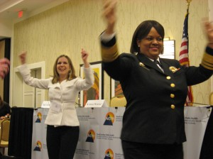Surgeon General Regina Benjamin leads conference in an exercise break