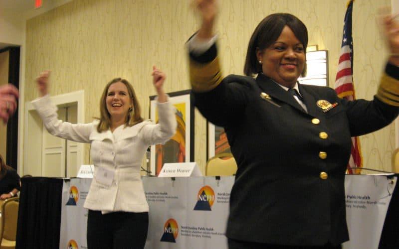 Surgeon General Regina Benjamin leads conference in an exercise break