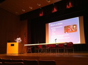 Presentation at Tuesday's conference of HIV/ AIDS advocates
