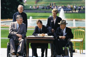 President George HW Bush signed the Americans with Disabilities Act into law on July 26, 1990