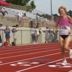 Nancy Lund finishes the 400 m race at Friday's track and field events of the NC Senior Games