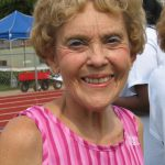 Asheville resident Nancy Lund after finishing the 400 m race.