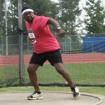 Wilson resident Elbert Forbes, 58, as he gets ready to throw the discus at last week's Senior Games in Cary.