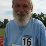 84-year-old Gary Gaskiln after finishing the 1500m race. Gaskiln also does triathlons and took the gold medal in the National Sr Games in 2009.