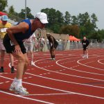 Men line up for the 400 m race in the over 65 category at the Sr Games last week in Cary.