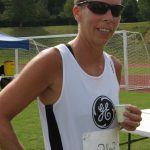 Rocky Point resident Carol Steim after winning the 400 m race for the 55-60 year old women.