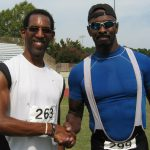 """New friends Eddie Stone, 55 (l) and Bernard Wright, 60, after winning the 400 m in their respective age groups. """"We can be friend because I'll never run against you,"""" Wright quipped."""