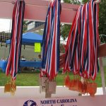 Medals for winners of the track and field events Senior Games, last week in Cary.