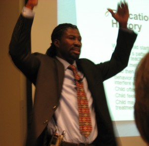 Drug abuse counselor Jeremiah Hopes makes a point during his presentation.