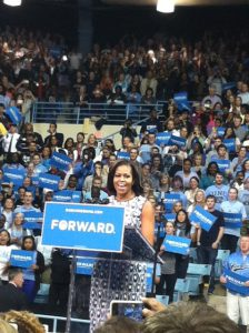First Lady Michelle Obama stumped for her husband at UNC-Chapel Hill Tuesday. Photo by Nancy Wang.