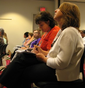 More than 500 nurses came to Chapel Hill for two days of intensive classes last week. Here, an overflow crowd takes notes in a class on kids who harm themselves.