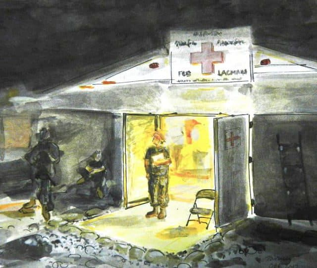 watercolor of a nurse waiting in the door of a surgical tent in the dark.