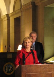 Governor Bev Perdue and DHHS Secretary Al Delia announced a temporary solution to the funding problem hanging over the state's group homes for people with mental health and developmental disabilities.