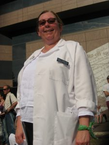 Emerald Isle Physician Assistant Donna Shelton at a rally outside the General Assembly building before being arrested.