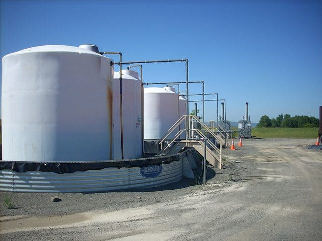Storage tanks at fracking site near Mainesburg, PA. Photo courtesy Gerry Dincher, flickr creative commons