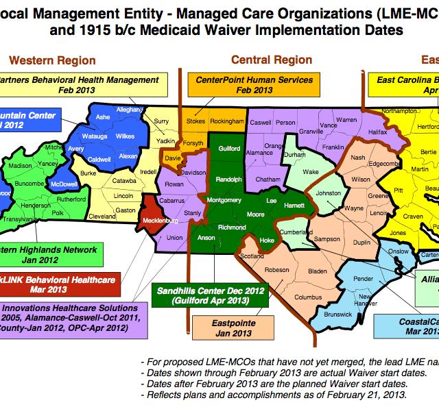 Map of mental health agencies in North Carolina.