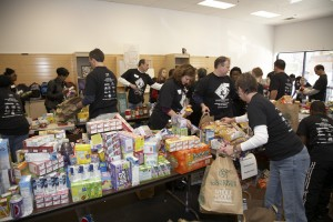 packing food at Inter-Faith Food Shuttle