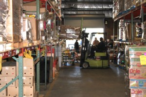 Loading shelves at the Food Bank of Central and Eastern North Carolina.