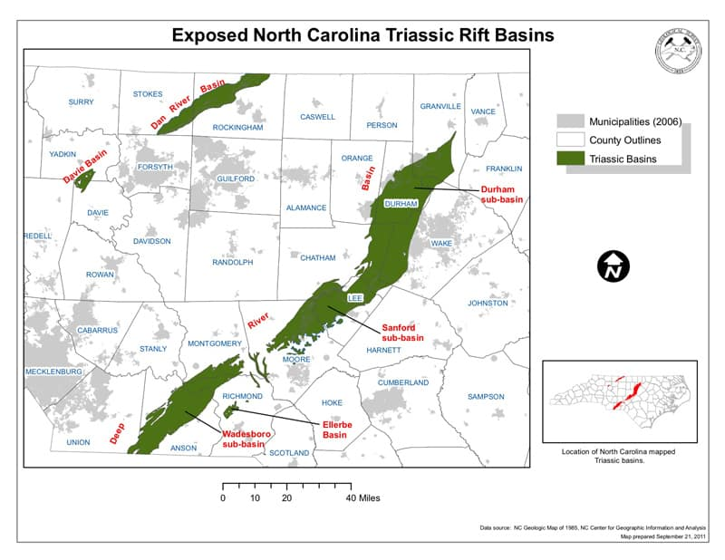 A map showing NC counties with shale resources. Hydraulic fracturing helps break apart the shale, releasing oil and natural gas.