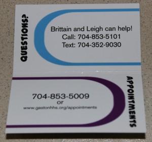 Inside of flip-open, business-sized card advertis ing the Teen Wellness Center