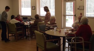 Participants at the Pittsboro PACE program enjoy a hot lunch on a snowy afternoon.