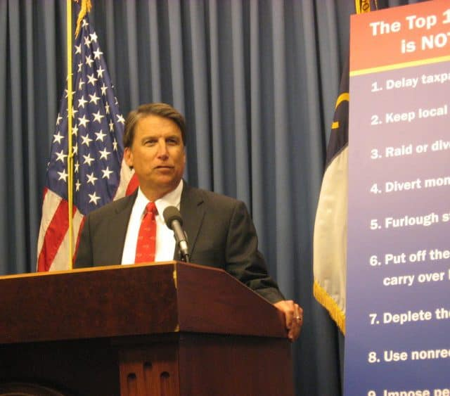 mcCrory presents budget