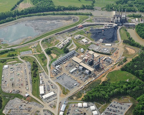 An aerial shot of the Dan River Steam Station, the power plant whose ash spilled into the Dan River. Duke stores coal ash, a byproduct of electricity generation, in wet ponds. Photo courtesy Duke Energy