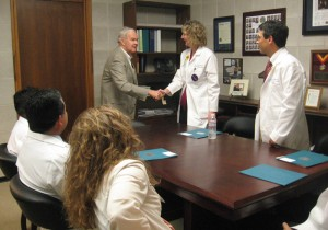 Sen. Louis Pate (R-Mt. Olive) met with physicians and residents from East Carolina University School of Medicine in his office Wednesday.