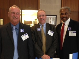 """Executives from Carteret General Hospital said they worried about the future of rural hospitals if the Senate budget becomes law. """"We don't want to become another Pungo."""" said CEO Dick Brvenik, center. With him are board chair John Davis (l) and board member Vernon Small (r)."""