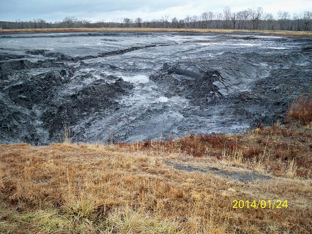 Coal ash remaining at the Dan River Steam Station, after the power plant's pond spilled 39,000 tons of ash into the Dan River in February. Photo courtesy N.C. DENR