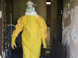 Health care worker dressed to treat Ebola patients.