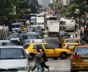 Traffic in New York City. New York is densely developed, but parts of it can grow congested with car traffic, producing localized spikes in air pollution. Photo by ILMRT, courtesy Wikipedia