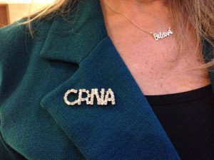 Nurse anesthetist Sharon Pearce wears her CRNA pin during the nurse anesthetist advocacy day at the General Assembly in February. Photo credit: Rose Hoban