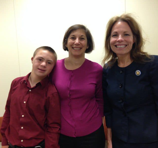 Thomas and Donna Beckmann and Sen. Tamara Barringer celebrated that the ABLE Act was getting close to passage.