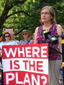 Joan Alker from the Georgetown Center for Children and Families speaks at the Medicaid expansion rally last Thursday on the grounds of the old state capitol.