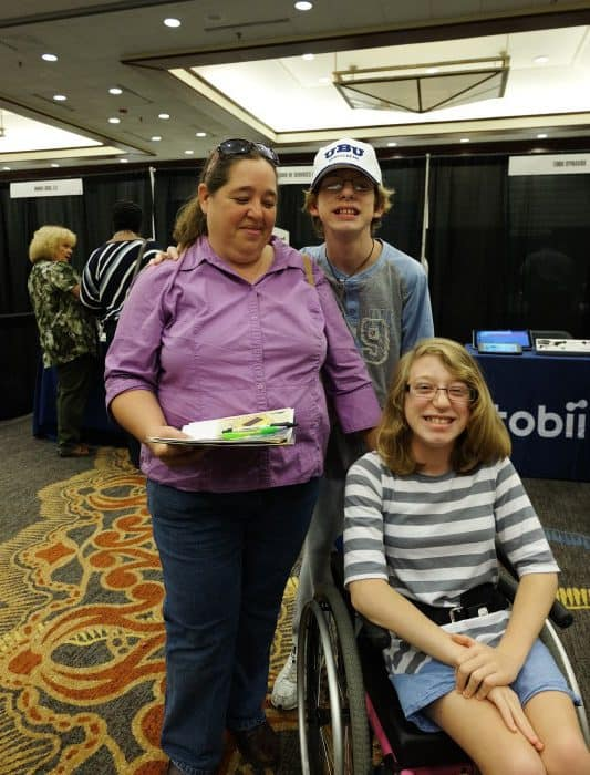 Brenda, Jonathan and Lizzie Willis came to the Assistive Technology conference to look for tools to make life a little easier for Lizzie.