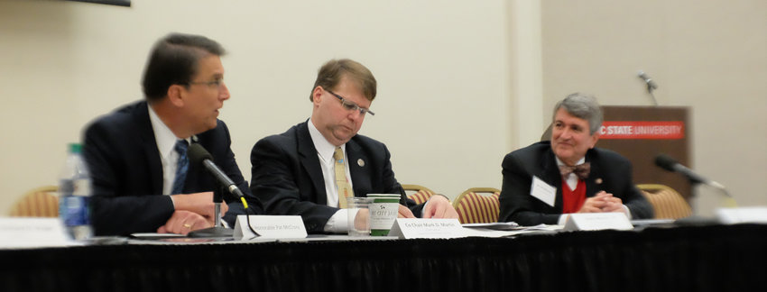 Gov. Pat McCrory speaks to the Task Force on Mental Health and Substance Use. Also pictured, NC Supreme Court Chief justice Mark Martin, who leads the task force and psychiatrist Al Mooney.