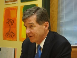 Attorney General Roy Cooper stopped by Woods Charter School in Chatham County ono Wednesday to tell students about the Stop Rx Abuse video contest. Photo credit: Taylor Sisk