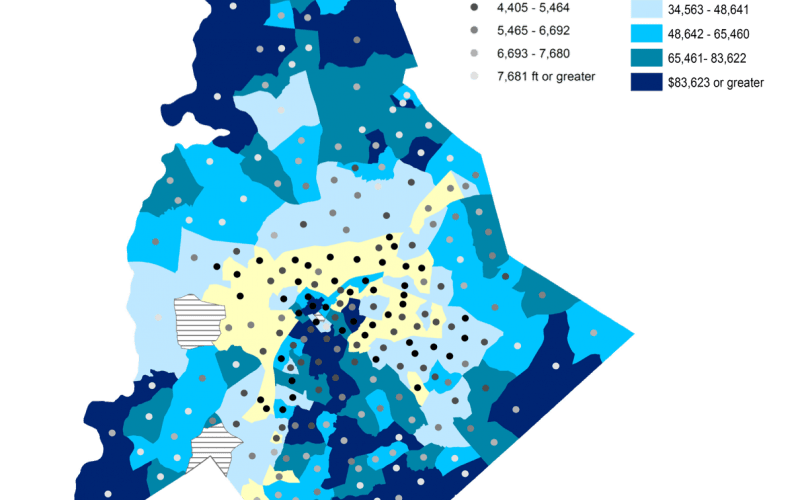 Tobacco retailer density map of Mecklenburg County. Kong's mapping showed residences in lower income areas are on average closer to ten tobacco retailers than a residence in higher income areas are to a single retailer.