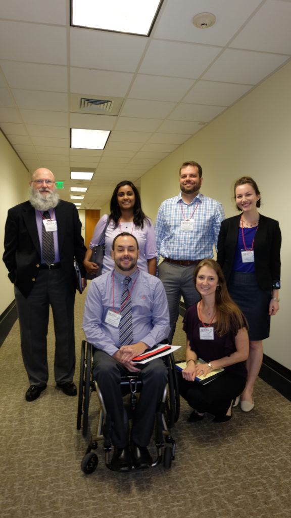 Occupational therapists Greg Smith, Anna George, Tony Leo and Lindsay Voorhees (back) and Justin Richard and Lauren Deisenroth (front) spent a day at the General Assembly last week, talking to Senators about passage of HB 683. Photo credit: Rose Hoban