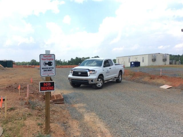 Clean Air Carolina provided Novant Health with signs encouraging people to not let diesel-powered vehicles to idle unnecessarily. This one was posted at its Mint Hill Hospital construction site.