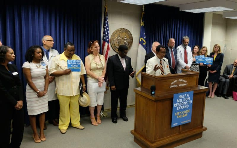Sen. Floyd McKissick (D-Durham) urges advocates to continue pushing for Medicaid expansion at the legislative building Wednesday.