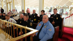 Fire chiefs (r to l, top row) Allen Wilson, Freddy Johnson Sr., TJ McLamb, John Grimes, and Chris Heath, sit in at the House hearing.