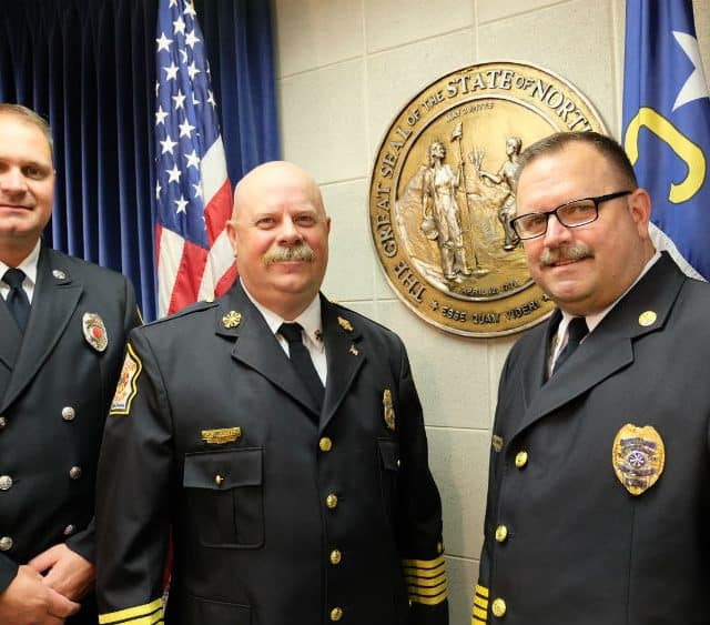 Capt. Mark Stafford, from the City of Conover FD, Chief Andy Webster from the Statesville FD and Depty Chief Derik Martin from the Hickory FD came to the legislature to ask for, among other things, a death benefit for firefighters who die of certain cancers during their working lives.