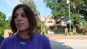 NARAL/Pro-Choice North Carolina head Tara Romano spoke at a rally in front of Gov. Pat McCrory's mansion Monday afternoon. Photo credit: Rose Hoban