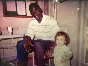 Snapshot of Zack Irby as a boy with basketball superstar Michael Jordan.