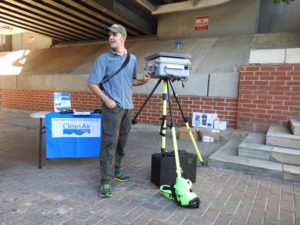 Brian Magi, an assistant professor at the University of North Carolina, Charlotte brought his $10,000 air sampling instrument to the air monitoring event in July. Photo courtesy of Clean Air Carolina
