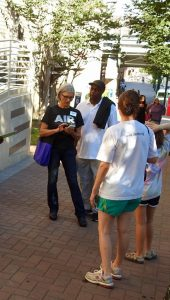 Clean Air Carolin recruited volunteers to help takes air samples in downtown Charlotte in July. Mary Stauble, the group's Clear the Air for Kids! program director, is in the black T-shirt. Photo courtesy of Clean Air Carolina