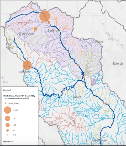 A preliminary state Department of Environmental Quality study based on river samples concluded that major sources of 1,4-dioxane originated in the upper watersheds of the Haw and Deep Rivers, which empty into the Cape Fear River. Source: DEQ Water Science Section.