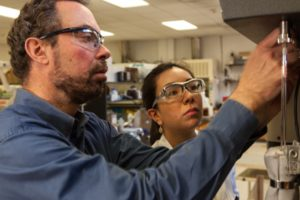 North Carolina State University water quality scientist Detlef Knappe and graduate student Catalina Lopez at work in Raleigh. Among other things, the research team is investigating whether microbes native to the Cape Fear River watershed can be induced to degrade 1,4-dioxane. Photo by Julie Williams Dixon